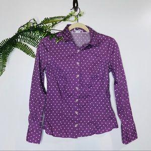 Boden Purple White Polka Dot Button Down Shirt